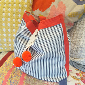 LUXE - Ticking Stripe - Charcoal with Tangerine trim and pompoms