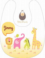 Yellow personalized baby bib with animals