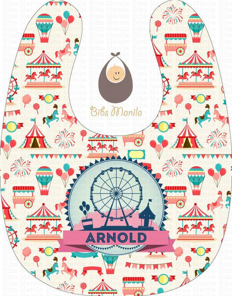 Circus Ferris wheel Pink and Blue Personalized Baby Bib