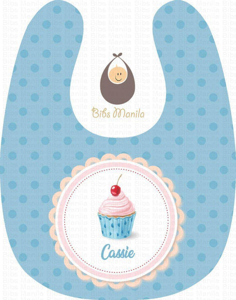 Cuppy Cake Light Blue Personalized Baby Bib