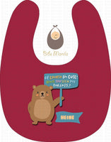 Cute Parent Bears Burgundy / Without Snow Bibs
