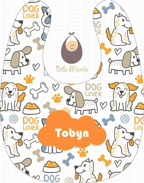 Dog Lover Orange Personalized Baby Bib