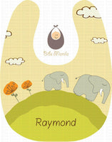Elephants on a Hill Yellow Personalized Baby Bib