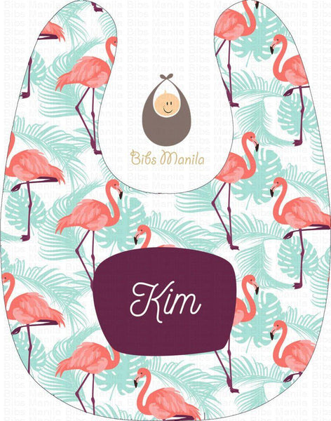 Flamingos with Blue Tropical Leaves Personalized Baby Bib