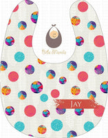 Go Around In Circles Polka Dots Personalized Baby Bib