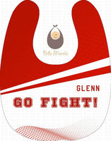 Go Fight UE Red and White Personalized Baby Bib