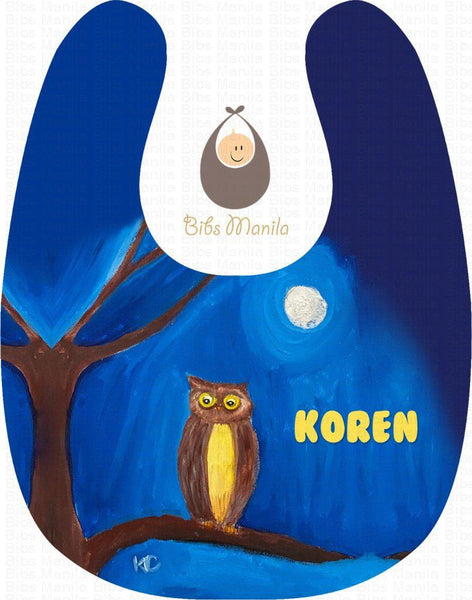 Hand-Painted Bib 12: Owl In The Moonlight Bibs