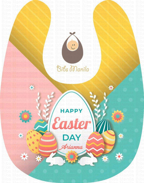 Happy Easter Day Colorful Eggs Personalized Baby Bib