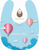 Hot Air Balloons Sky Blue Personalized Baby Bib