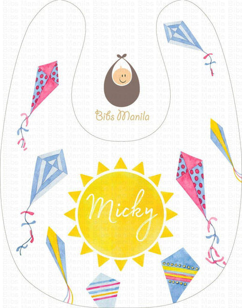 Kites and Yellow Sun Personalized Baby Bib