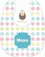Pastel Polka Dots Lines and Circles Personalized Baby Bib