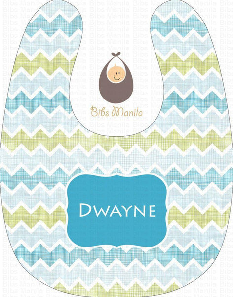 Lines and Waves Skyblue Personalized Baby Bib