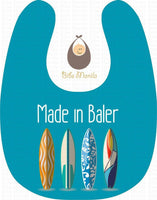 Made in Baler Blue Background with Surfboards Personalized Baby Bib