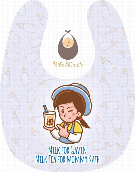 Milk for baby and milk tea for mommy light pink Personalized Baby Bib