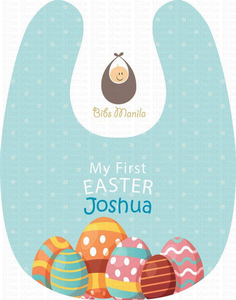 My First Easter Sky Blue Personalized Baby Bib