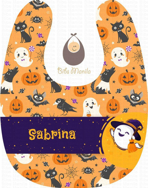 Night Animals Pumpkins and Ghosts Halloween Personalized Baby Bib