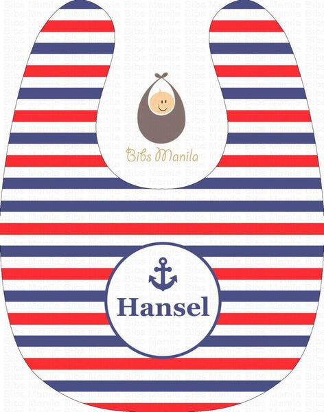 Old School Sailing Blue White and Red Stripes with Anchor Personalized Baby Bib