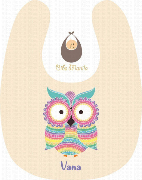 Owl See You Baby Pink with Big Owl Personalized Baby Bib