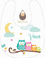 Owly Dream 4 owls on a twig with moon and stars Personalized Baby Bib