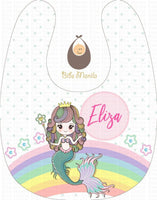 Part of your world mermaid with polka dots Personalized Baby Bib