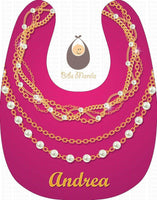 pearl necklace in hot pink background Personalized Baby Bib