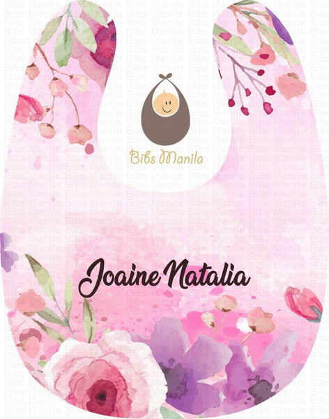 Pink and Purple Painted Flowers Personalized Baby Bib