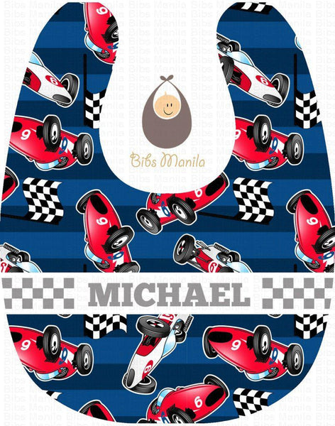 Ready to Race Dark Blue Background with Checkered Race Flag Personalized Baby Bib