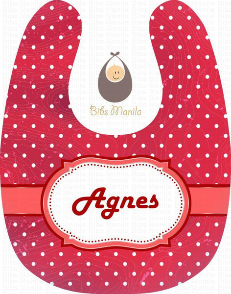 Red and white polka dots Personalized Baby Bib