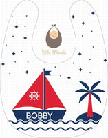 Sailboat in white background Personalized Baby Bib