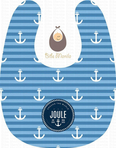 sea captain with blue stripes and white anchor Personalized Baby Bib