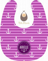 sea captainess with violet stripes and white anchor Personalized Baby Bib