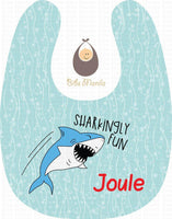 Sharkingly Fun Sky Blue Personalized Baby Bib