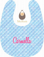 Shining Mermaid Sky Blue Scales Personalized Baby Bib
