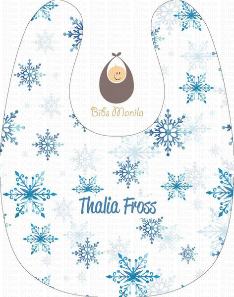 Blue Snowflakes with White Background Personalized Baby Bib
