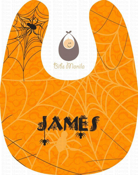 Spiders with Orange Background Halloween Personalized Baby Bib