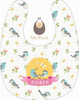 Sweet Birds in Yellow Accent Personalized Baby Bib