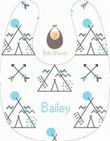 Teepee Fun with Arrows on white background Personalized Baby Bib