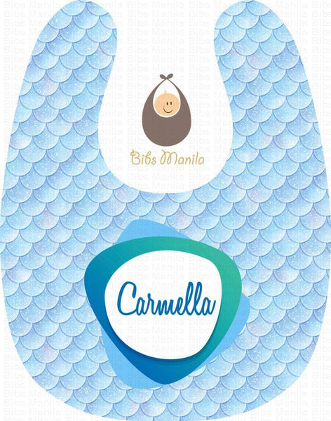 The Mermaid with Sky Blue Scales Personalized Baby Bib