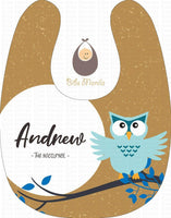 The Nocturnal Blue Owl on a Twig Personalized Baby Bib