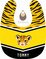 The Baby Tiger Yellow and Yellow Orange Personalized Baby Bib