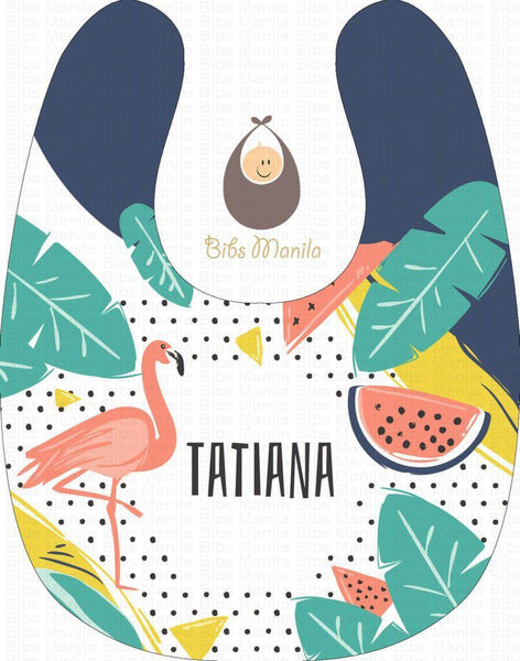 Tropical Summer with Flamingo and Watermelon Personalized Baby Bib