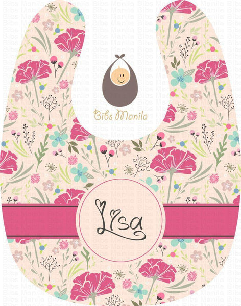 Vintage Flowers in Pink Personalized Baby Bib