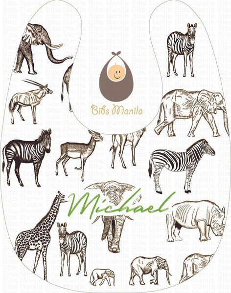 Vintage Safari Personalized Baby Bib