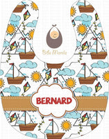 Windy Sail Sailboat with Sun and Clouds Personalized Baby Bib