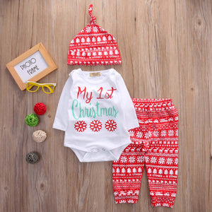 3-Piece Baby Christmas Onesie & Leggings Set