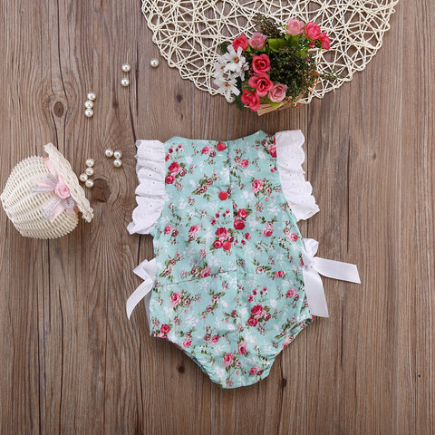 Floral Bodysuit with Ribbons