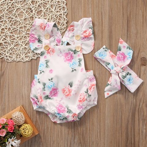 Image of Summer Floral Bodysuit & Headband Set