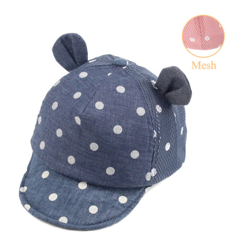 Dotted Mesh Baby Sun Cap with 3D Ears