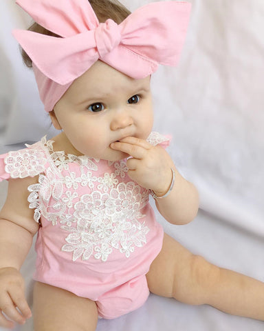 Image of Pink Baby Rompers and Bow Headband