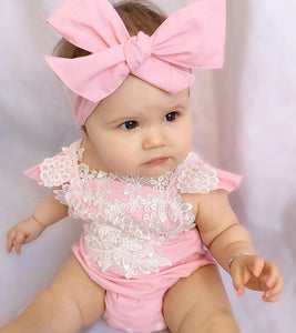 Pink Baby Rompers and Bow Headband